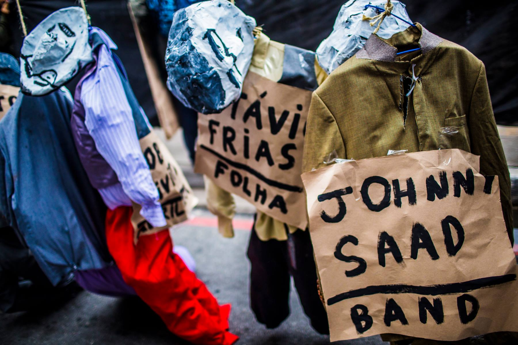 Johnny Saad, Roberto Marinho, Rui Mesquita, Roberto Civita e Otávio Frias. Os donos da mídia foram ao ato por Tarifa Zero ontem (19/06) em São Paulo, do jeito que o povo gosta: enforcados.